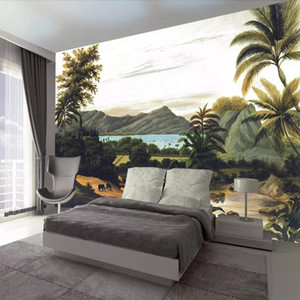 3d tropical rainforest style mural Nordic living room bedroom wallpaper simple modern retro TV background wall cloth