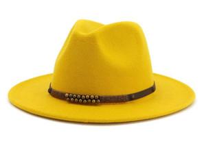 14 couleurs haute Q Large laine Brim feutre Jazz Fedora Chapeaux pour Hommes Femmes British Classic Trilby Parti formel Panama Cap Floppy Hat