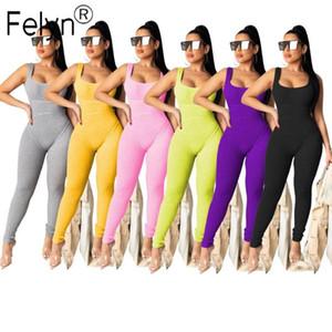 Felyn Felyn 2020 Alta qualità Nuovo design Tracksuits Tute Suit Skinny Square Neck Sottile Estate Sport Sport Bodycon Pagliaccetti