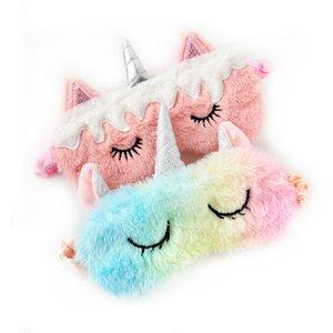 Unicorn Göz Seyahat Ev Partisi Hediyeler için Maske Peluş Göz Gölge Kapak Peluş Hayvanlar siperliği Sleeping Oyuncak Doldurulmuş Karikatür Maske