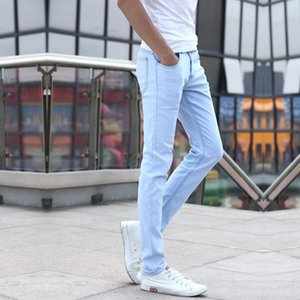 New Style Youth Solid Color Slim Fit Pants Pencil Pants Jeans Korean-style Fashion Men's Elastic Casual Trousers Men's