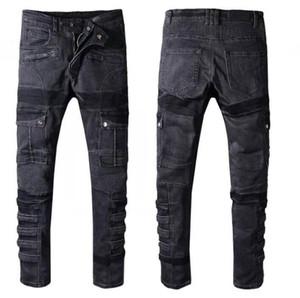Yeni Balman% 100 pamuk Klasik Kuşak dekorasyon Jeans Biker Denim Moda Tasarımcısı Pantolon Erkek kot Kuşak dekorasyon Biker Denim Jeans