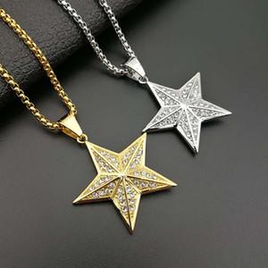 Novas jóias de hip hop aço de titânio banhado a ouro tridimensional diamante incrustado tridimensional estrela de cinco pontas colar de pingente