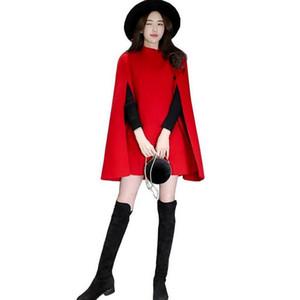 Рождественские предложения 2019 новый женский весна осень одежда длинный тонкий плащ шерстяное пальто красный британский Мыс шерстяные куртки верхняя одежда DC79