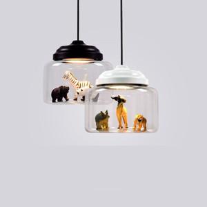 Mais novo de Vidro Lâmpadas LED Luminária Nordic candelabro iluminação Pós-moderna Minimalista Animais Bar Lâmpadas Quarto Sala de Jantar Lâmpadas Penduradas