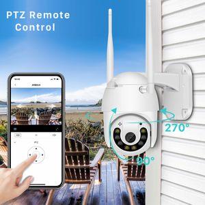 2MP 옥외 와이파이 IP 사진기 1080P 색깔 야간 시계 PTZ 사진기 Onvif TF 카드 구름 저장 속도 돔 사진기 주택 안전 비디오 촬영기 V380