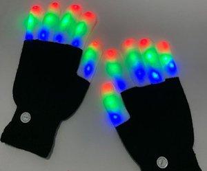 هالوين الأطفال LED قفازات حافظ قفازات دافئة الصمام قفازات اللوازم 7 الخفيفة وسائط ضوء فنجر فنجر اللعب حزب