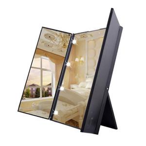Pode ser escurecido LED espelho de maquilhagem iluminado Vanity Cosmetic Beleza Mirro Folding Compact Mão Cosmetic Pocket Mirror com luz LED