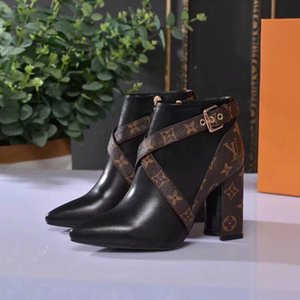 Hot Original Box New Sexy Womens ace designer High Heels Boot Bottom Ankle Winter Real Top Quality Leather Pumps Paris Boots Size 35-40