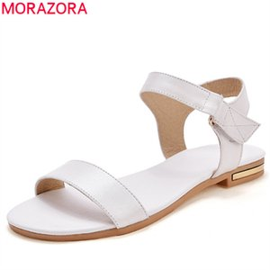 MORAZORA 2019 venda quente mulheres sandálias sapatos de couro genuíno sólida cores sapatos de verão confortável ocasional mulher plana