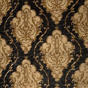 Lusso carta da parati High Grade Black Gold goffrato struttura metallica 3D del damasco a parete rotolo lavabile in vinile Wall Paper PVC