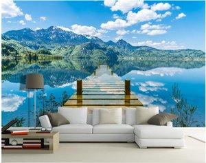 TV en 3D de la pared de fondo murales de pared 3d 3d sala de fondo de pantalla personalizado mural fotográfico lago agua reflexión puente de un solo tablón del papel pintado para paredes 3 d