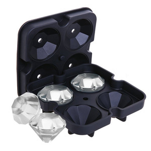 Creativo Silicon Ice Ice Cube Maker Diamond Shape Ice Mould Tray 3D Silicone Ice Cube Mould Wine Cocktail Party Bar Accesorios Negro Color