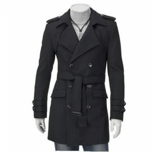 New Mens Long Confortável homens Trench Designer de Moda homem Outono Inverno Windproof Magro top Coat roupas de negócios Plus Size