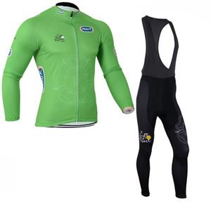 Men tour de France Long Sleeve Cycling Jersey Bib Pants suits Pro Team Mountain Bike Clothes Outdoor Clothing Road Uniform Set 111607Y