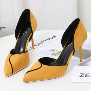 BIGTREE Shoes Women Heels Mixed Color Sexy High Heels Women Pumps Party Wedding Shoes Stiletto Pointed Kitten Heels Ladies Shoes Y200702