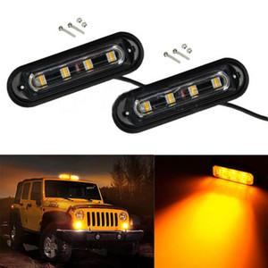2PCS 4LED camion dell'automobile di allarme di emergenza Beacon Bar Flash Strobe Light Hazard ambra