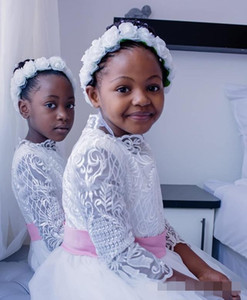 2020 White Flower Girls' Dresses Pink Ribbon Sash Jewel Neck Lace Applique Long Sleeves Tulle Custom Made Little Girl Communion Party Gown