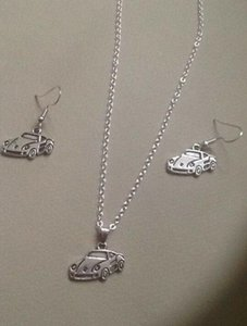 Super Sports Car Necklace Earrings Set Tibetan Silver Pendant Lucky Dangle Women Charm Fashion Party Friendship Gift Jewelry Accessories