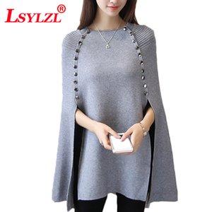 Party Club Women Wool Cloak Shawl Button Knitting Sweater Cape Winter Ponchos Loose Pullover Long Knitted Jumper Q257