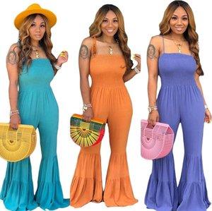 Moda Kadınlar Tulum Romper Kolsuz Şeker Renk Straplez Off-omuz Trompet Jumpsuit Tozluklar CZ521
