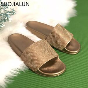 Fashion Rhinestone Women Slippers Flip Flops Summer Women Crystal Diamond Bling Beach Slides Sandals Casual Shoes Slip on Slipper
