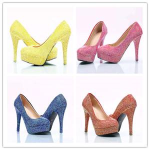 لامعة كاملة Diomond أحذية الزفاف مضخات الكعوب العالية أحذية الزفاف 5CM 8CM أحذية 11CM ل 14cm بلينغ بلينغ حفلة موسيقية للسيدة