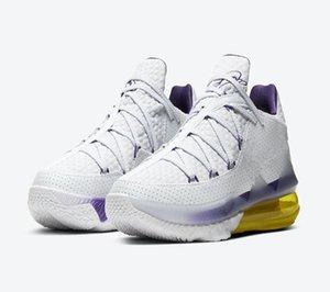 Lebron 17 Zapatos XVII bajo Lakers Inicio baloncesto de los hombres con la caja de calidad superior 17 Lakers Blanco Púrpura Amarillo Tamaño de los zapatos 40-46