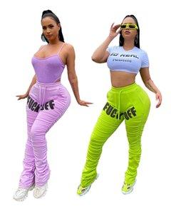 Женская мода штабелях штаны Письмо печати Дизайнерская Stacked Брюки Светлый цвет Повседневный Длинные брюки одежда женщин