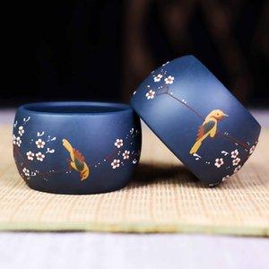 Authentic Art Bird Tea Cup, Hand painted teacup natural ore purple sand tea bowl heat-resistant tea set cup accessories