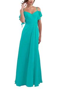 Demoiselle d'honneur robes longues en mousseline de soie Halter Aline spaghetti en mousseline de soie des robes de bal longue soirée formelle de robe