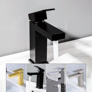 Черный гальваническим Undercounter ванной кран качество латуни горячей и холодной смеситель квадратный дизайн бассейна водопроводный кран Хром Матовый золото