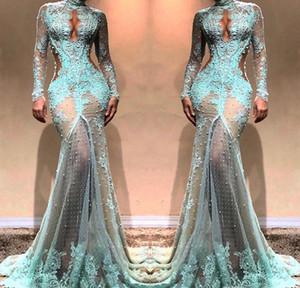 2019 barato de manga larga vestido de noche del cordón de Dubai ilusión blusa de vacaciones mujeres del desgaste formal del partido del tamaño de baile vestido de encargo más