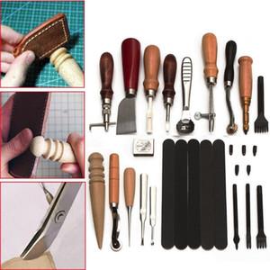 18pcs couro artesanal punch Tools Kit SET costura Carving ferramentas de artesanato de couro de costura Trabalho Saddle Groover Jogo de ferramentas kit Artesanato bluesky1990