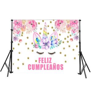 Unicórnio Feliz Aniversário Fotografia Backdrops Fundo Da Foto Decoração Da Parede Do Partido Rosa Flor Estrelas Pano De Fundo 7x5ft Personalizar