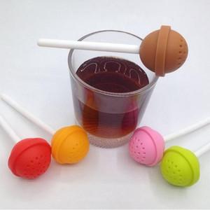 Forma Lollipop 200pcs de Infuser del té de Puer de silicona Suger Palo colador de té de hojas sueltas especia flor de té de hierbas Filtro adelgaza EEA1357 regalo