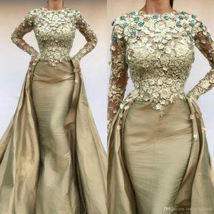 2020 섹시한 인어 이브닝 드레스 분리형 스커트 3D 꽃 아플리케 새틴 댄스 파티 드레스 스윕 기차 사용자 정의 만든
