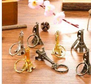 Torre Eiffel París Francia Llavero sellado de oro de la astilla de bronce regalos anillo dominante de la manera del envío al por mayor gratuito