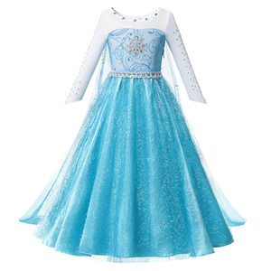 Princesse bleue jeu Beadings Dress Up Vêtements Fille avec longue cape Pageant robe de bal pour enfants Halloween Party Deluxe Fluffy Perle Costume par1
