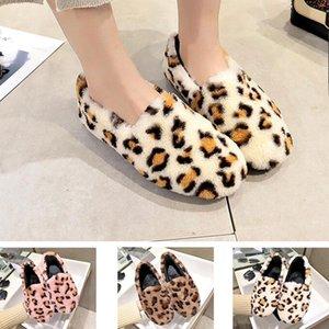 Studente all'ingrosso casuale scarpe di pelliccia pigri piatto di leopardo, più velluto di cotone scarpe inverno homewear testa rotonda bassa delle donne