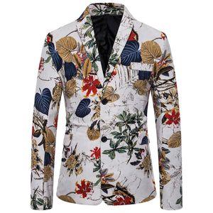 Traje para hombre cantante manera de la vendimia informal étnico Traje impreso floral delgado chaqueta de la chaqueta vendedora caliente del Hombre Slim Fit chaqueta del juego