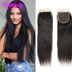 Peruvian 100% Human Hair 4X4 Lace Closure Silky Straight Natural Color 8-22inch 4 By 4 Closure Wholesale Middle Three Free Part