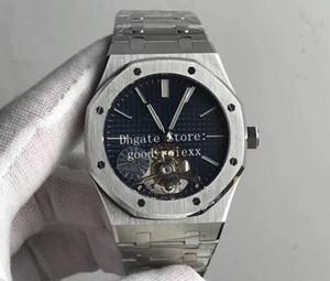 Herren Real Tourbillon Uhren Herren Mechanisch Cal.2924 Uhr Herren Blau Stahl Armband Royal 26510 Saphirglas Eiche JF 41mm Armbanduhren