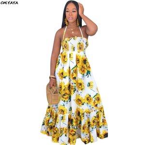 2019 new women summer sunflower print hatler neck sleeveless big swing maxi dress vintage fashion long dresses vestido GlSMN3087 MX200518