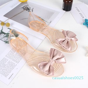 Fashion Bow Womens Sandals Girls Flats Jelly Plastic Shoes Female Open Toe Slippers Casual Beach Slides Comfortable Soft PVC c25