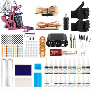Tattoo Kit 20 Colors Inks 8 Wrap Coils Machines Grips Needles Power Supply Tattoo Kit For Beginner Accessories Set