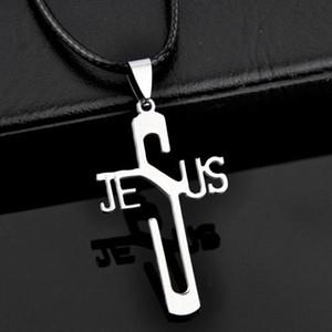 Venta al por mayor 10 unids / lote fresco de acero inoxidable Jesús cruz colgantes collar para hombres joyería de las mujeres regalos ST06