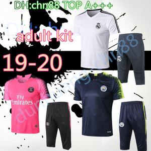 19 manches psg real madrid Survêtement de football en Argentine courtes 3/4 pantalon survêtement kit chemise de football d'entraînement ensemble chandal