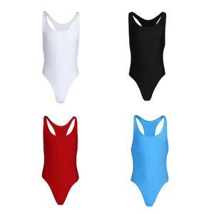 4 colores hombres de una sola pieza Mankini Body Tank Tops Slim Cut Leotard Singlet Ropa interior Ropa de baile Ropa