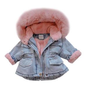 2019 Winter Baby Girl Denim Jacket Plus Velvet Real искусственного меха Руно Теплый малышей Верхняя одежда Пальто Kid Infant Parka ветровку